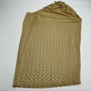 Jordan Taylor Gold One Shoulder Crochet Coverup